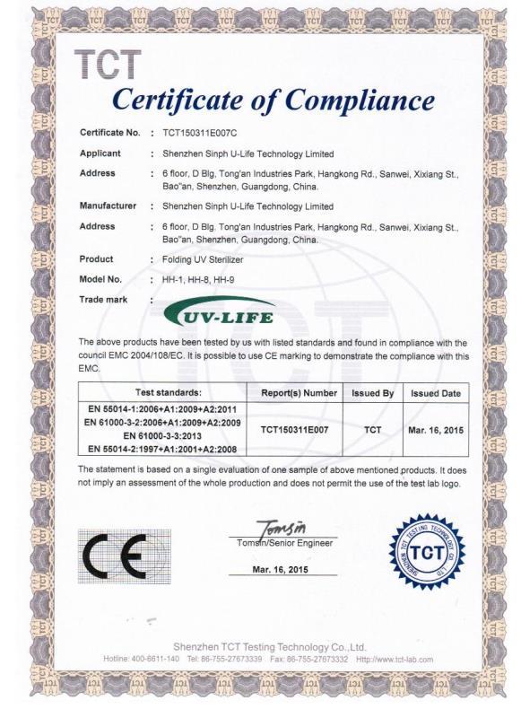 GermCide X Compliance certificate